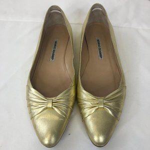 Manolo Blahnik Gold Pointed Toe Flats